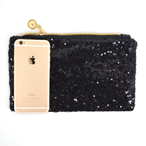 Mily Dazzling Envelop Sparkling Zipper Fashion Clutch Sequins Handbag Black qIxzw7Ir