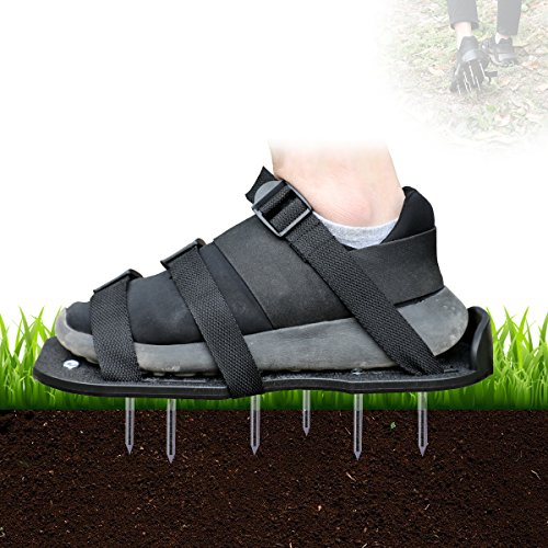 Lawn Shoes,MagicFour Lawn Aerator Shoes,Heavy Duty Spike Shoes,Aerating Soil Sandals,Aeration Lawn Tool with 3 Buckles and 3 Adjustable Straps for Garden and Yard