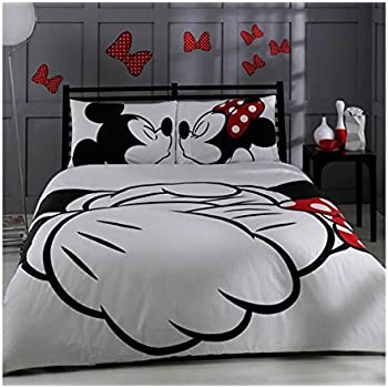 100 cotton comforter set 5 pcs full queen size disney minnie loves kisses mickey mouse - Mickey Mouse Bedding