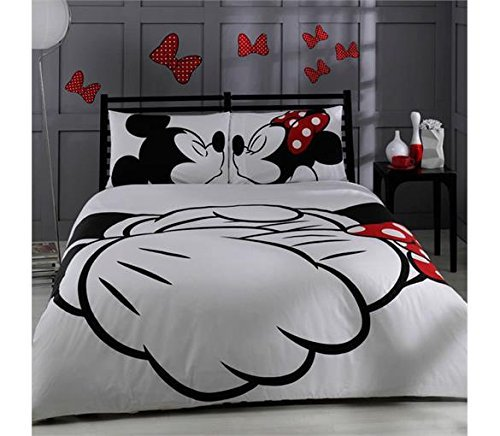 (100% Cotton Comforter Set 5 PCS Full Queen Size Disney Minnie Loves Kisses Mickey Mouse Heart Theme Bedding Linens Quilt Doona Cover)