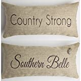 Evelyn Hope Collection Southern Belle-Country Girl Rustic Throw Pillow with Removable Pineapple Pin