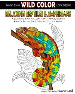Relaxing Reptiles Amphibians Adult Coloring Book Wild Color Volume