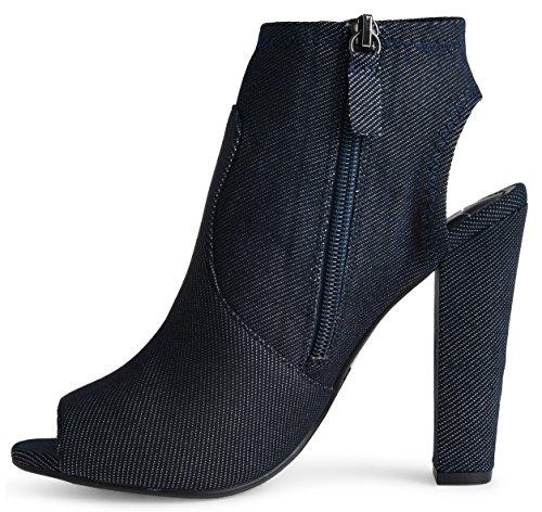 Lusthave Donna Open Peep Toe Taglio Largo Tacco Accatastato Zip Up Stivaletti Alla Caviglia Tacco Alto Stivali Denim