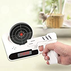 Alarm Clocks-16 Feet Gun Shooting & Target Alarm Clock Recordable your own Wake up Message