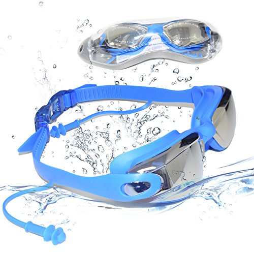 Swim Goggles - Unisex No Leaking Swim Glasses For Adult Men Women Youth Kids Child with Free Protection Case,Swimming Goggles with 100% UV Protection,Anti Fog Technology,Electroplating (blue)