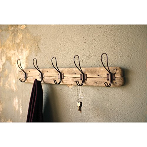 Entryway Rustic Style 5 Hook Wall Mount Wooden Coat Rack, Brown, Large, 26' x 5.5'