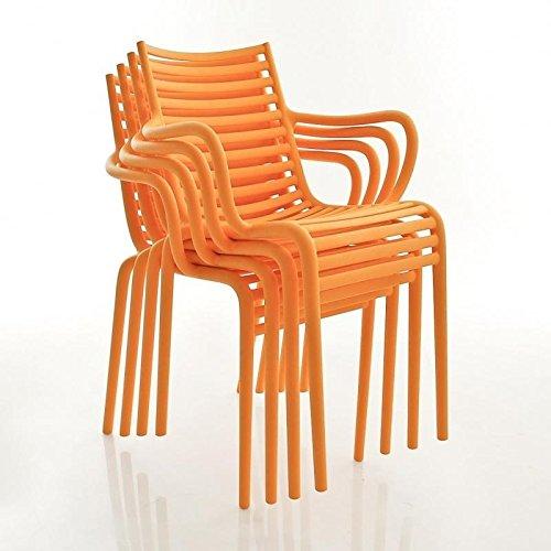 Driade Pip-e Armlehnstuhl 4er Set, orange matt mit Armlehne
