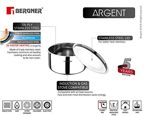 Bergner-Argent-Stainless-Steel-Tope-With-Lid-14-cm-1-Litres-Induction-Base-Silver