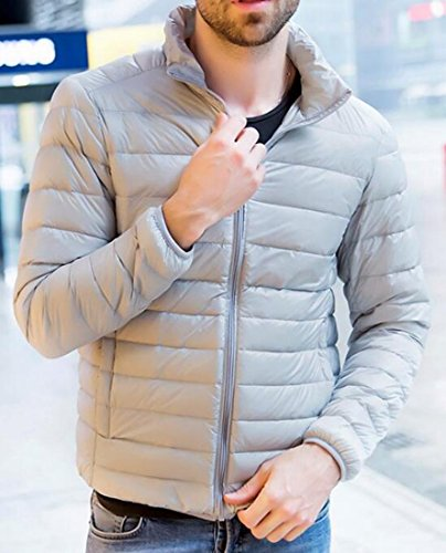Jacket Zip Men's Packable Custom Coat US EKU Fit Puffer Gray Down Front S 8Rwwq