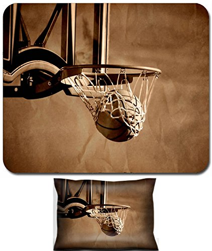 Liili Mouse Wrist Rest and Small Mousepad Set, 2pc Wrist Support Action shot of basketball going through basketball hoop and net IMAGE ID 11596060 -
