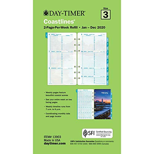 (Day-Timer 2020 Weekly Planner Refill, Two Page Per Week, 3-3/4