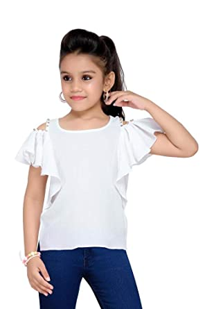 a67a538e6aa0a CORDATE GIRLS COLD SHOULDER CROP TOP WITH DIAMOND STONES (COLOUR   WHITE)  Size