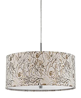 "Earth Tones Floral Botanical Drum Pendant Light Swag Lamp Modern Chandelier 18"" W"