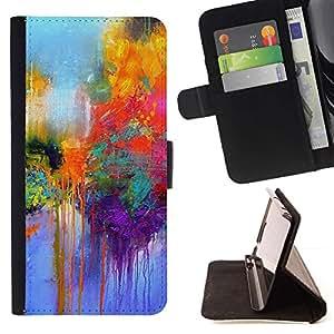 For Samsung Galaxy S4 Mini i9190 (NOT S4) Case , Calle Paris colorido Pintura Lluvia- la tarjeta de Crédito Slots PU Funda de cuero Monedero caso cubierta de piel