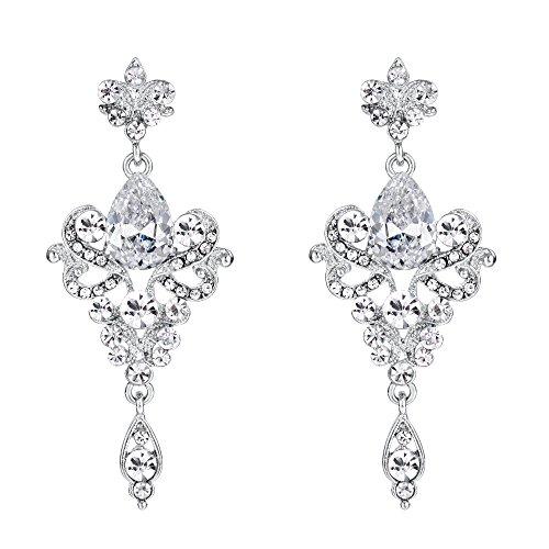 BriLove Wedding Bridal Dangle Earrings for Women CZ Crystal Victorian Scroll Teardrop Chandelier Earrings Clear Silver-Tone