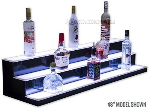 3 Tier LED Lighted Bar Shelves - Low Profile Style (24'' Length) by Customized Designs (Image #3)