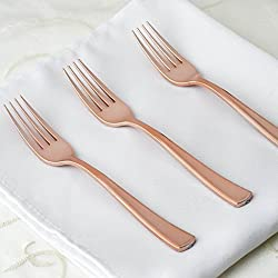 Efavormart 108 Pcs Wholesale Rose Gold Metallic Disposable Plastic Fork for Wedding Party Banquet Events Candy Buffets Dinnerware