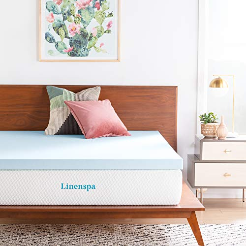 LINENSPA 3 Inch Gel Infused Memory Foam Mattress Topper - Queen Size (Best Fiber Bed Topper)