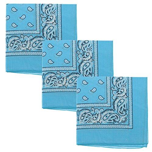 Set of 3 Large Cotton Paisley Bandanas - Baby Blue -