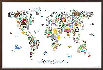 Amazon animal kingdom map of the world framed art poster animal kingdom map of the world framed art poster print where do which gumiabroncs Gallery