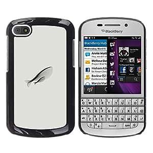 GOODTHINGS Funda Imagen Diseño Carcasa Tapa Trasera Negro Cover Skin Case para BlackBerry Q10 - madre peces amor arte dibujo simplista moderno
