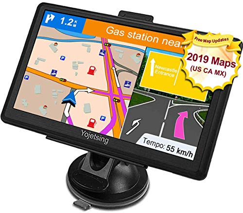YoJetSing GPS Navigation for Car, Truck GPS 7 Inch HD GPS Navigation, Built-in 256MB+8GB Vehicle Navigation System, Voice Reminding, Free Lifetime Maps, Pre-Installed 2019 USA+Canada+Mexico Maps