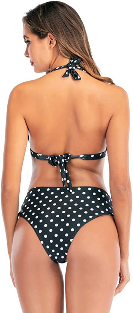 Dainzuy Bikini Swimsuit for Women Push-up Halter Bandage Backless Two Pieces Swimwear High Waisted Bottoms Bathing Suits