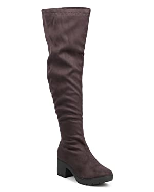Breckelles DG18 Women Suede Thigh High Block Heel Fitted Riding Boot - Grey (Size: 9.0)