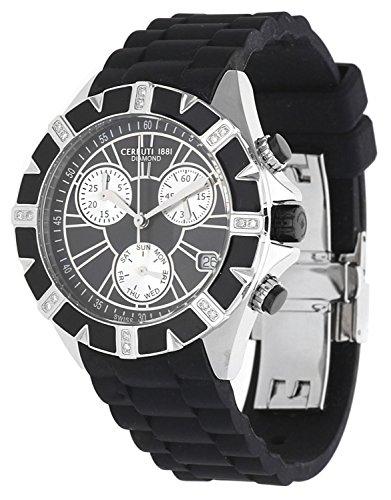 Cerruti 1881 Ladies Chronograph Watch Black Silver Tone with Silicon Strap Diamond CRWDM031V224Q