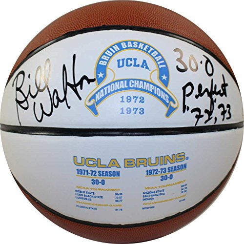 NCAA UCLA Bruins Bill Walton Signed UCLA 1972 and 1973 National Basketball with''30-0 72/73 Perfect ''Inscribed by Steiner Sports