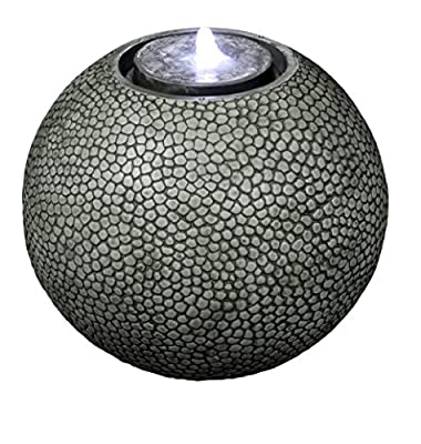"Pebble Sphere 19"" Fountain w/LED Light: Large Ball Water Feature, Indoor/Outdoor, Garden Fountain, Patio Fountain HF-S04-19L"