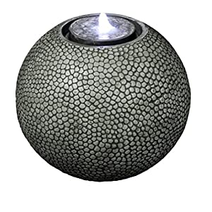 "Harmony Fountains Pebble Sphere 19"" Fountain w/LED Light: Large Ball Water Feature, Indoor/Outdoor, Garden Fountain, Patio Fountain HF-S04-19L by"