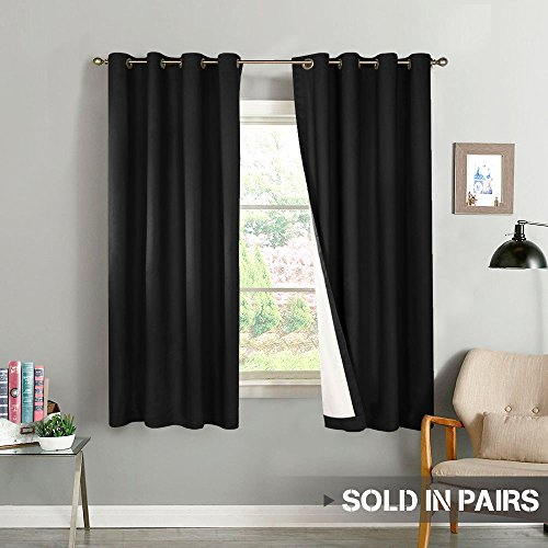 (Blackout Curtains for Bedroom 63 inch Length Thermal Insulated Lined Curtain Panels for Living Room Darkening Window Treatment Sets, 2 Panels, Black)