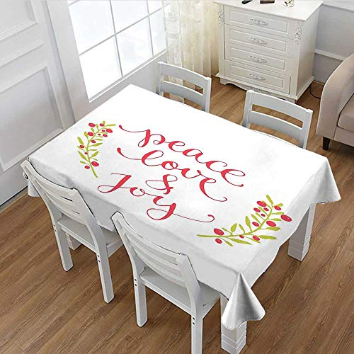 MartinDecor Quote Dinner Picnic Table Cloth Peace Love and Joy Calligraphic Xmas Text with Winter Berries Wreath Waterproof Table Cover for Kitchen Dark Coral Yellow Green 60