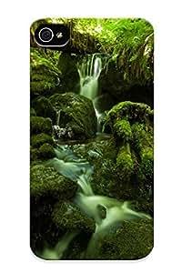 Flexible Tpu Back Iphone 5/5S - Forest Jungle Green Stream Timelapse Moss Fern Rocks Stones