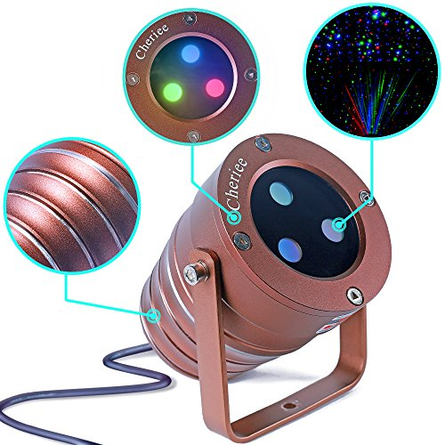 Cheriee Laser Christmas Lights Outdoor Projector Light Star Moving Laser Show Red, Green and Blue Holiday Light Waterproof Landscape Spotlight Aluminum Garden Decorations by CHERIEE