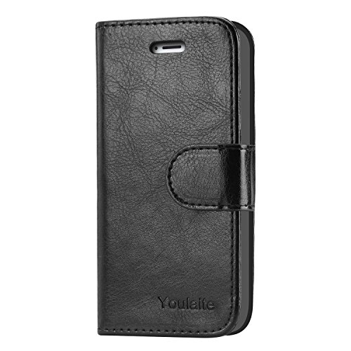 iPhone 5S Case,iPhone SE Case,Youlaite Premium PU Leather Wallet Phone Cases Flip Book Cover with Kickstand Function [Build in Credit Cards Slot Cash Pocket] for Apple iPhone 5 5S SE (Black)