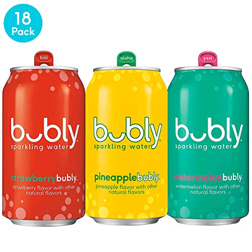 bubly Sparkling Water, Summer Variety Pack (Strawberry/Pineapple/Watermelon), 12 fl oz. cans (18 Pack)