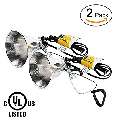 Simple Deluxe 2-Pack Clamp Lamp Light with 5.5 Inch Aluminum Reflector up to 60 Watt E26/E27 Socket (no Bulb Included) 6 Feet 18/2 SPT-2 Cord UL Listed