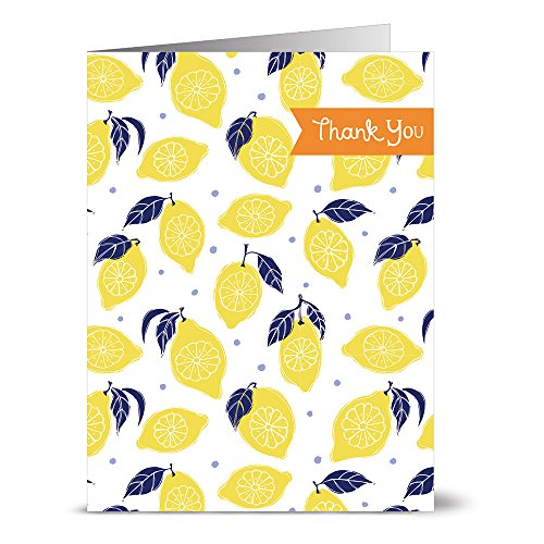 24 Note Cards - La Dolce Vita Lemons Thank You - Blank Cards - Yellow Envelopes Included (Italian Thank You Cards)