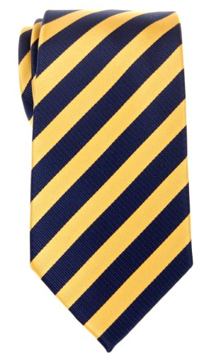 Navy Regimental - Retreez Exquisite Regimental Stripe Woven Microfiber Men's Tie - Navy Blue and Yellow