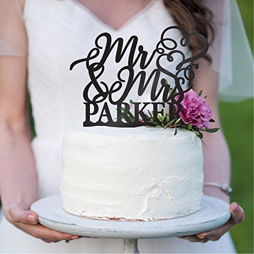(Personalized Wedding Cake Toppers Mr and Mrs Cake Topper - Bride and Groom Cake Toppers Wedding Favor | Custom Wedding Cake Topper (9 Different Colors))