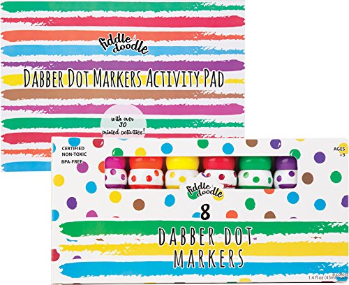 Fiddle & Doodle Dabber Dot Markers (8 Vibrant Colors) – Promotes Creativity and Early Childhood Learning – Includes 30 Activity Sheets for Teaching Alphabet, Numbers, Coloring and Drawing – Ages 3+