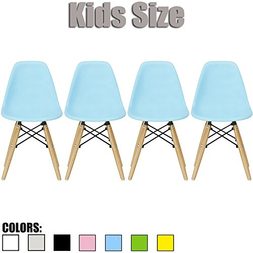2xhome - Set of Four (4) - Blue - Kids Size Eames Side Chairs Eames Chairs Blue Seat Natural Wood Wooden Legs Eiffel Childrens Room Chairs No Arm Arms Armless Molded Plastic Seat Dowel Leg… by 2xhome