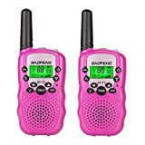 Qianghong T3 Kids Walkie Talkies 3-12 Year Old Children's Outdoor Toys Mini Two Way Radios UHF 462-467 MHz Frequency 22 Channels - 1 Pair Pink