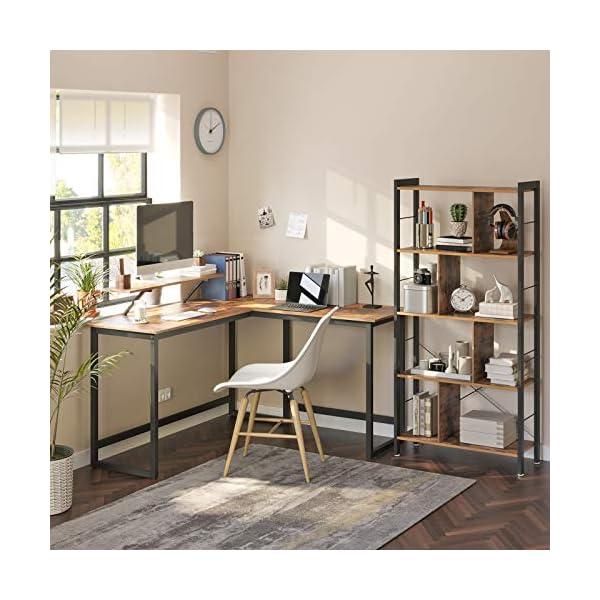 VASAGLE Bureau en Forme de L, Table d'Angle avec Support d'écran, pour étudier, Jouer, Travailler, Gain d'Espace, Pieds…