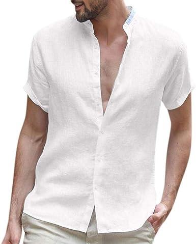 VJGOAL Hombre Manga Corta Henry Collar Breve Camisas de Color sólido Verano Casual Suelta de algodón de Lino Botón de época Camisetas Tops Blusa: Amazon.es: Ropa y accesorios