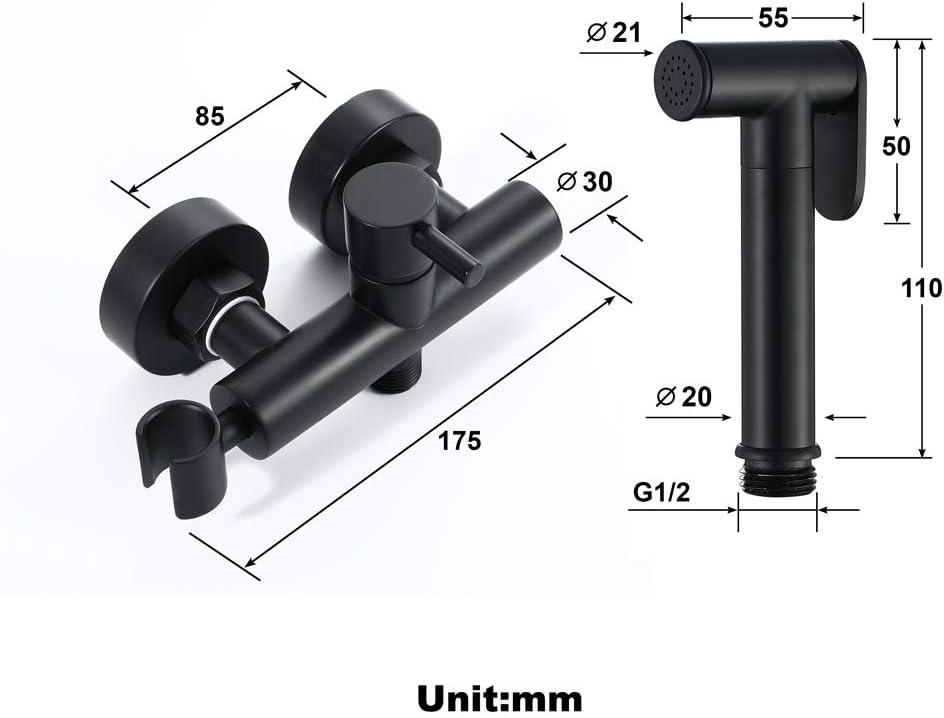 JMFHCD Bidet Handbrause Sprayer Messing Bidet Sprayer Hei/ß und kalt Wandmontage Doppelloch Bidet Handbrause Mischbatterie