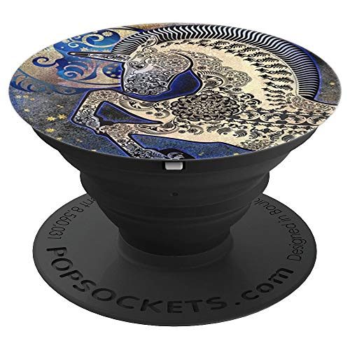 Unicorn with Celestial Moon Stars Pagan Earth Space Gift - PopSockets Grip and Stand for Phones and Tablets