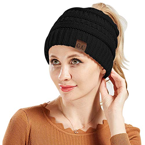 4bff0367698 BeanieTail Warm Knit Messy High Bun Ponytail Visor Beanie Cap (2pack-Black)